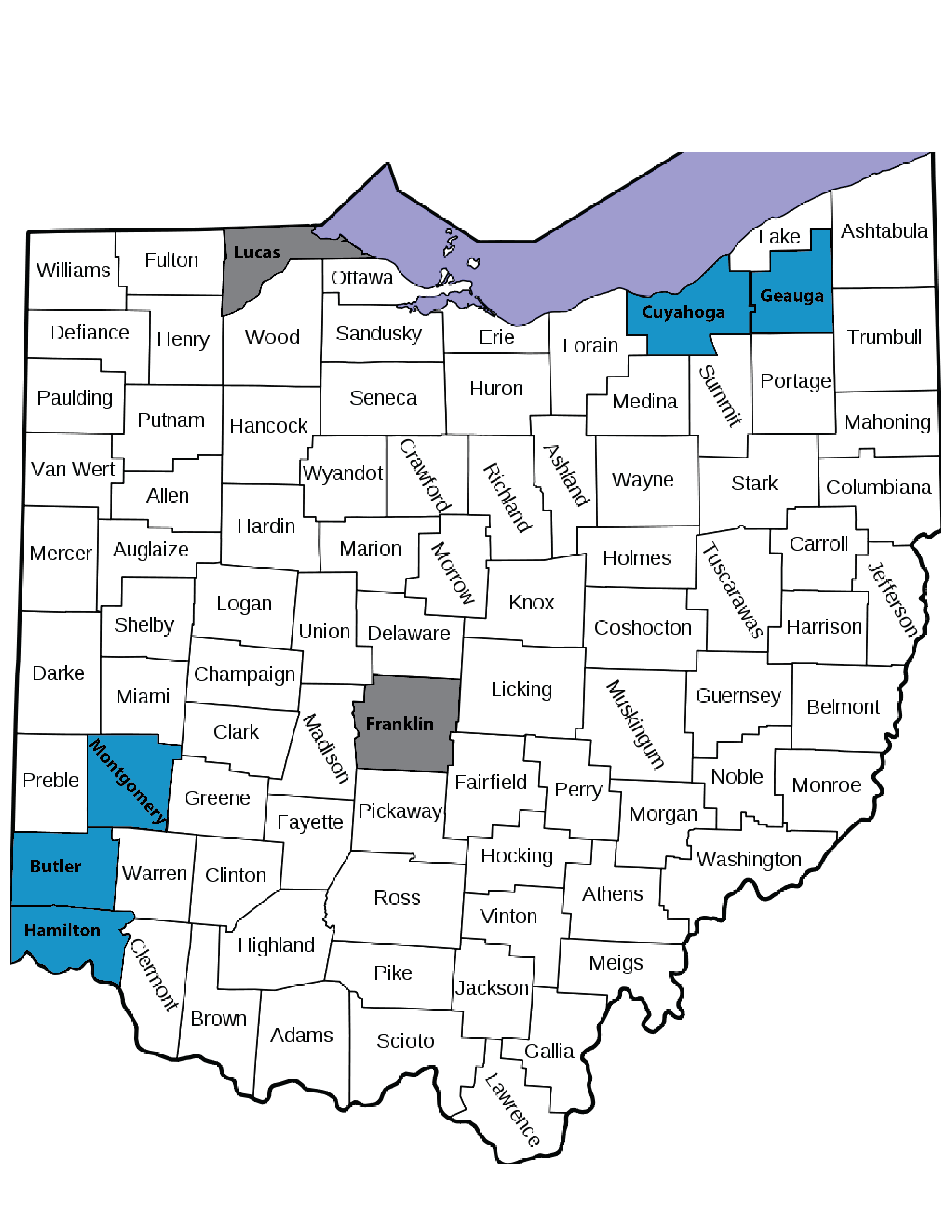 A map of Ohio counties. Blue is where texting 911 is an option. Grey indicates counties that are planning to offer 911 texting soon.